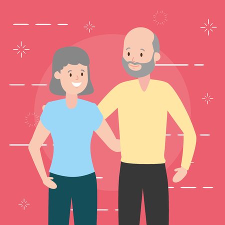 grandfather and grandmother couple vector illustration design 스톡 콘텐츠 - 122427780