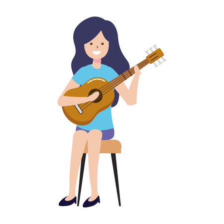 woman playing guitar - my hobby vector illustration  イラスト・ベクター素材