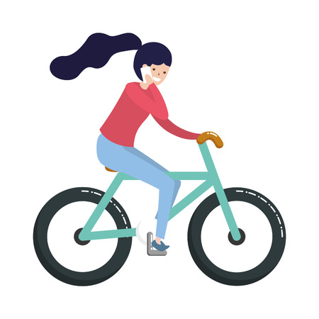 woman riding bike using mobile - my hobby vector illustration Illustration