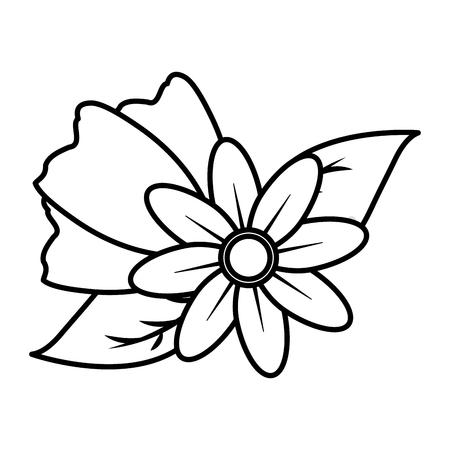 flowers leaves decoration on white background vector illustration  イラスト・ベクター素材