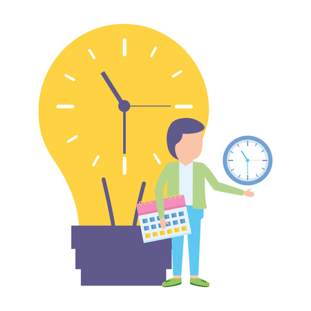 businessman with bulb clock time calendar vector illustration
