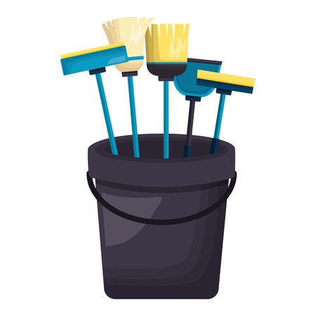 bucket broom mop sponge brush spring cleaning tools vector illustration