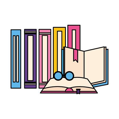 open books with glasses icon vector illustration design Illustration