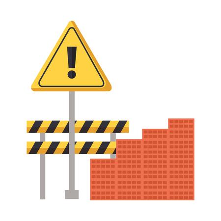 barricade wall bricks warning construction equipment vector illustration