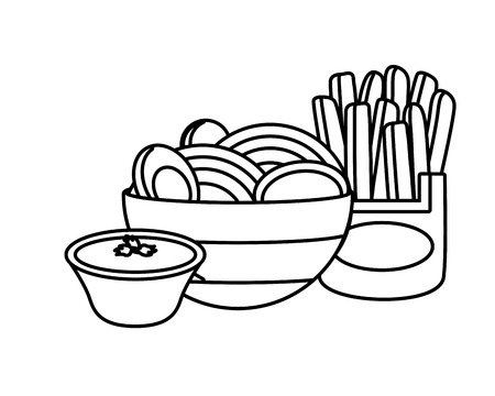soup ramen noodles french fries sauce fast food vector illustration