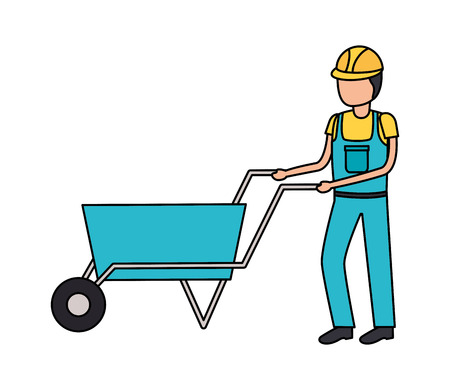 worker with wheelbarrow construction tool vector illustration design Vetores