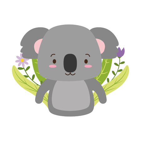 cute koala cartoon flower leaves vector illustration design Illustration