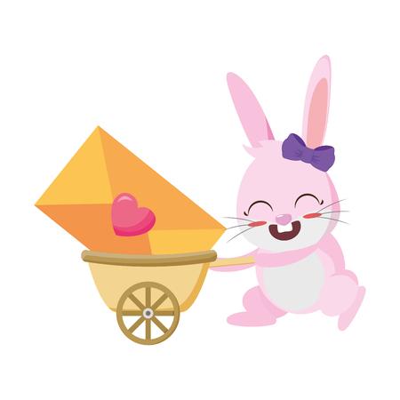 rabbit female with love envelope in wheelbarrow vector illustration design