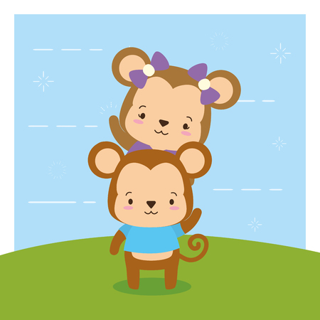 cute couple monkey animal cartoon vector illustration design