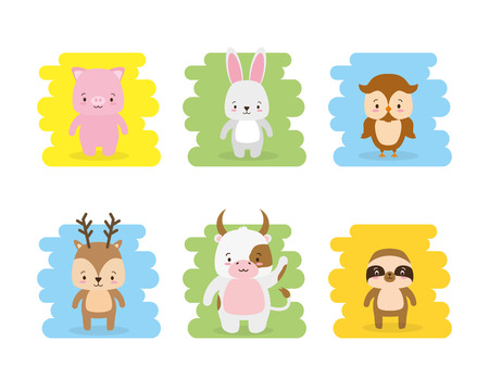 cute animals owl pig rabbit bull deer vector illustration Иллюстрация