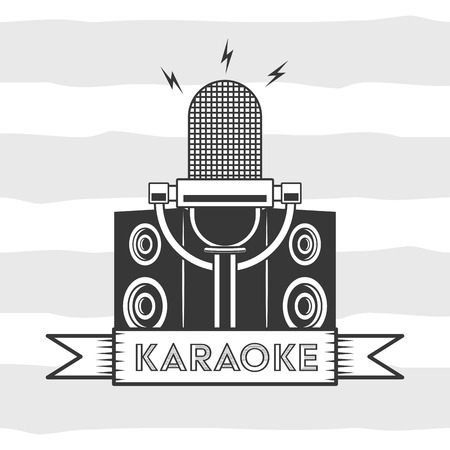 microphone karaoke retro style background vector illustration