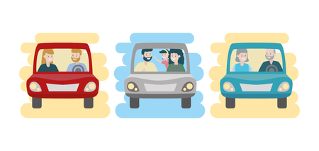 family day in car set vector illustration