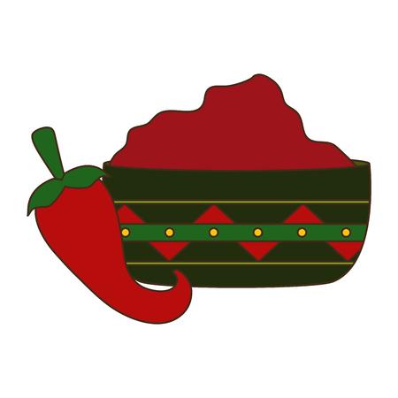 chili pepper jalapeno sauce in bowl vector illustration