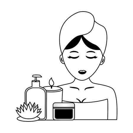 woman with towel candle products flower spa vector illustration
