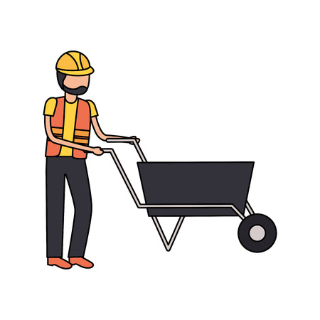 worker with wheelbarrow construction tool vector illustration design