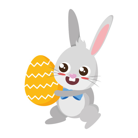 beautiful rabbit with egg painted easter character vector illustration design