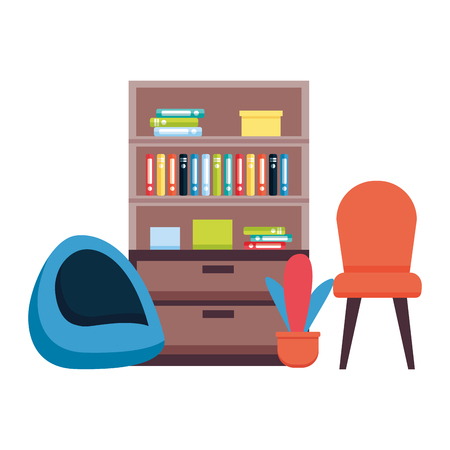 office bookshelf chairs furniture vector illustration design