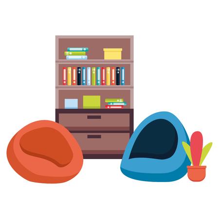 office bookshelf bean chairs furniture vector illustration