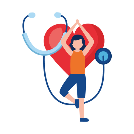 woman yoga heart stethoscope world health day vector illustration