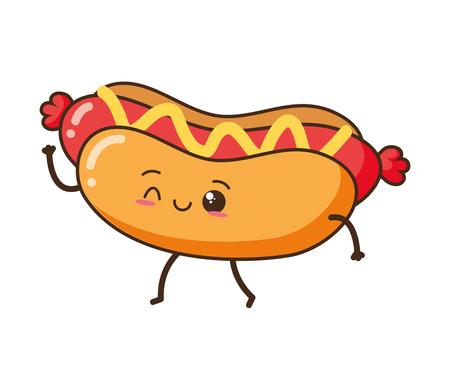kawaii hot dog fast food cartoon vector illustration