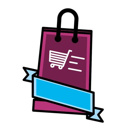 sale banner layout shopping cart bag vector illustration