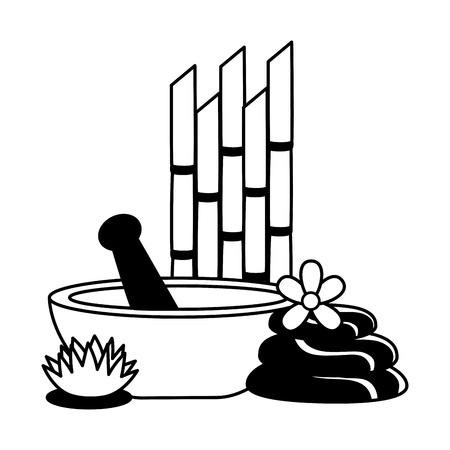 bowl stones bamboo flowers spa treatment therapy vector illustration Illusztráció