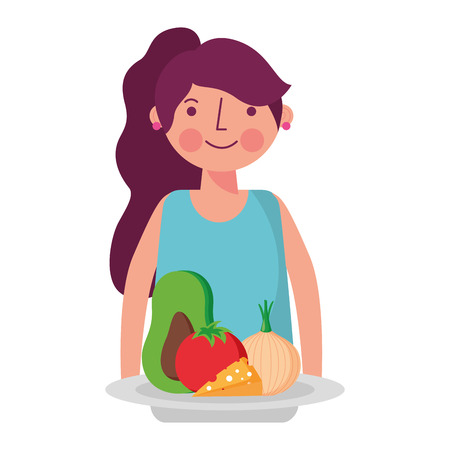 woman and food nutrition health vector illustration Illustration