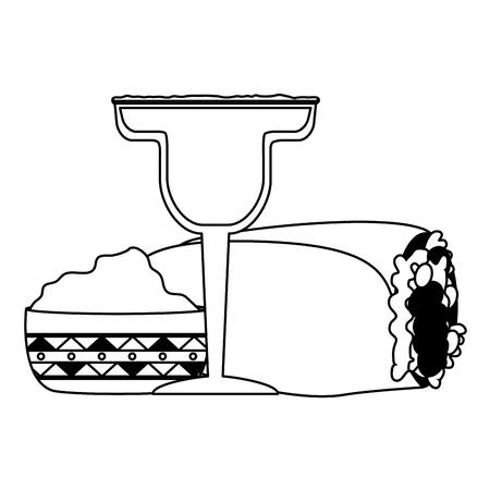 mexcian burrito tequila guacamole food vector illustration