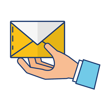 hand with mail envelope vector illustration design Archivio Fotografico - 122428004