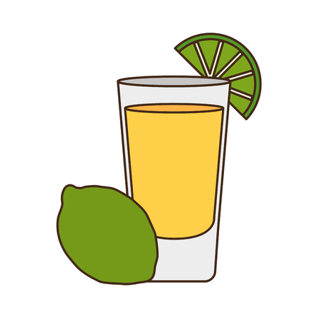 beverage shot with lemon drink vector illustration Ilustração