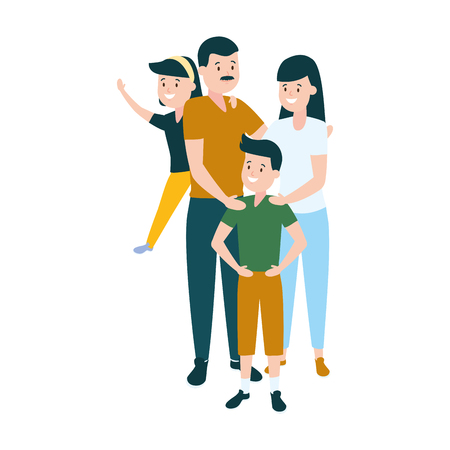 parent with son and daughter vector illustration Иллюстрация