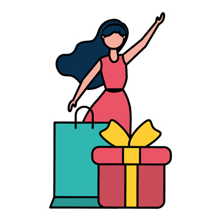 woman shopping bag and gift vector illustration