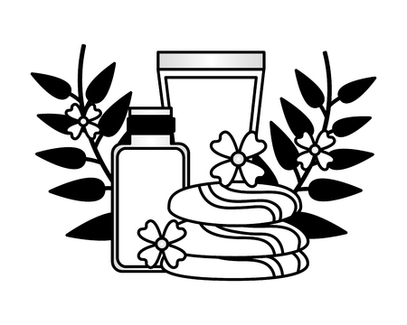 lotion oil bottles stones flowers spa treatment therapy vector illustration