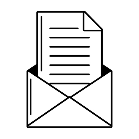 courrier papier lettre message sur fond blanc vector illustration