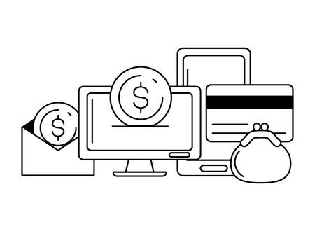 computer cellphone card money online payment vector illustration
