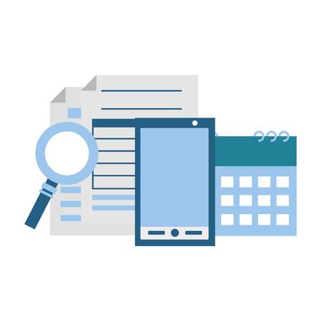 Smartphone bildet Kalenderlupe Steuerzahlungsvektorillustration Vektorgrafik
