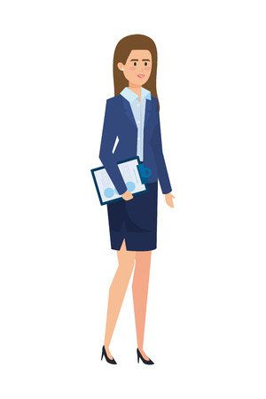 elegant businesswoman with documents vector illustration design  イラスト・ベクター素材