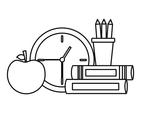 school clock apple books supplies vector illustration design 스톡 콘텐츠 - 122266300