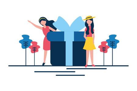 woman gift box online shopping vector illustration Stock Vector - 122266355