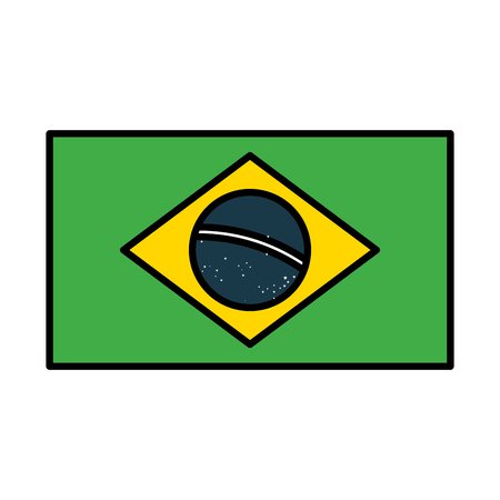 brazil flag emblem on white background vector illustration Ilustrace