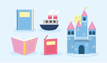 textbooks castle boat fantasy world book day vector illustration