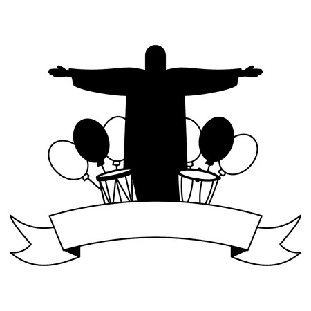 statue of christ redeemer balloons drums brazil carnival festival vector illustration
