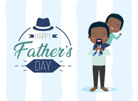 happy fathers day man carrying her son vector illustration  イラスト・ベクター素材