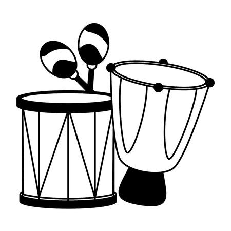 drums celebration musical brazil carnival festival vector illustration