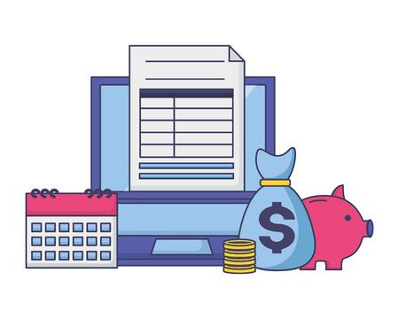 laptop money bag piggy bank calendar form  tax payment vector illustration Illusztráció