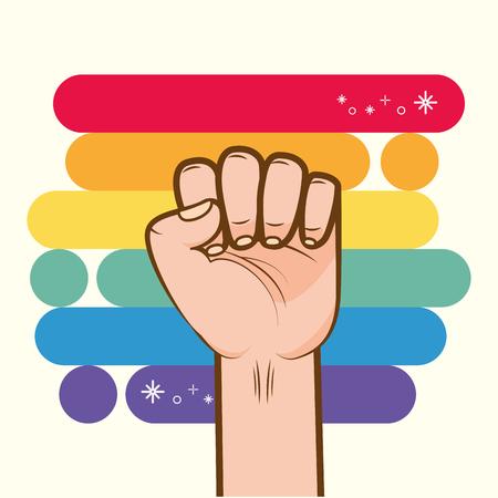hand fist raised up rainbow colors lgbt pride love vector illustration
