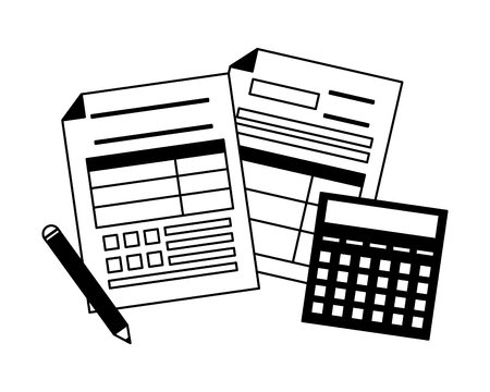 tax payment document calculator pen vector illustration