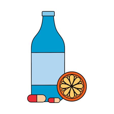 juice bottle orange medicine world health day vector illustration Ilustracja