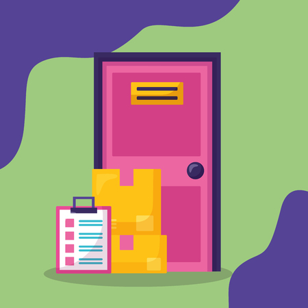 door boxes and clipboard fast delivery business vector illustration