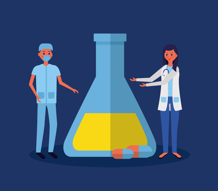 medical people staff with test tube and capsule medicine vector illustration Çizim
